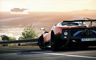 Картинка Game, Обоя, Pagani Zonda, Need for Speed, Зонда, Supercar, Hot Pursuit, Суперкар, Cinque, Игра, Вечер, Закат, Задок, Пагани, Orange