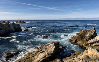 Обои море, горизонт, California, камни, Carmel-by-the-Sea
