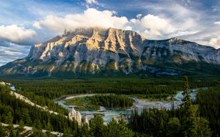 Обои Banff National Park, лес, природа, гора, река, пейзаж, Канада