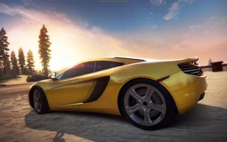 Картинка need for speed, закат, hot pursuit, McLaren MP4-12C, дорога, суперкар