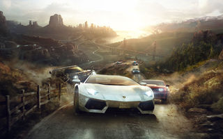 Картинка The Crew, Lamborghini, FORD, Ламборгини, Ubisoft Entertainment, Ubisoft Reflections, машины, Porsche, дорога, Ivory Tower, Mustang, город, забор, мост, автомобили, горы, Chevrolet Camaro, ФОРД, Police