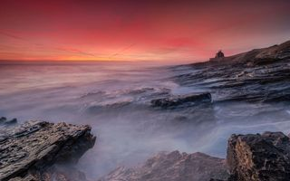 Обои Bamburgh Castle, sunrise, пейзаж