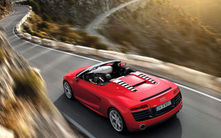 Картинка Audi R8, Cabrio, Road, Mountain, Motion, Red