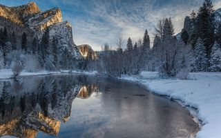 Картинка winter, merced river, Yosemite National Park