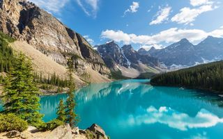 Картинка landscape, Moraine, Banff National park, lake, Canada, лес, озеро