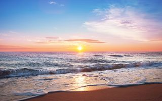 Обои море, beach, sunset, sea, закат, wave, sand