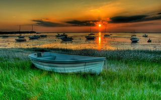 Обои nature, hdr, красивые, sunset, landscape, закат, лодки, природа, boats, beautiful, пейзаж