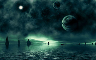 Картинка sci fi landscapes, water, rocks, sea, green