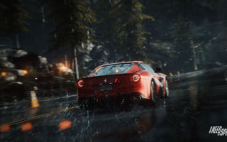 Обои Need For Speed Rivals, Дорога, Ferrari F12 Berlinetta, Лес, Race, Брызги, Wood