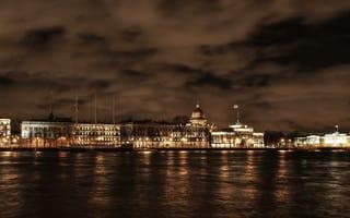 Картинка набережная, Russia, ночь, нива, питер, осень, St. Petersburg, санкт-петербург, река