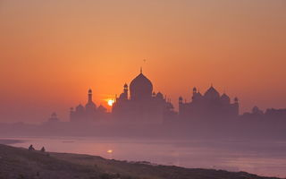 Обои taj mahal, sunrise, india