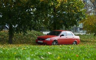 Картинка ВАЗ, auto, машина, Priora, авто, Приора, дерево, трава, БПАН, LADA