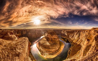 Обои Horse shoe bend, река, arizona, colorado river, природа, каньон, red dessert