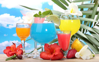 Картинка tropical, море, фрукты, fruits, коктейль, fresh, cocktail, drink