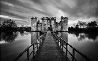 Обои Castle, bridge, black and white, water