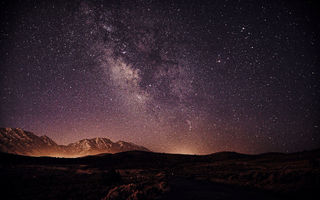 Картинка Milky, Way, Galaxy, Silhouette, Landscape, Stars, Nightscape, Space, Mountains
