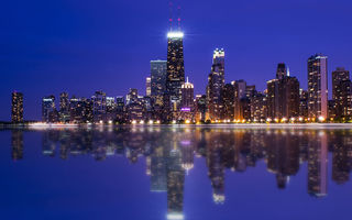 Обои Chicago, Night, Colors, Photography, Skyline, Reflection, Lake, Michigan