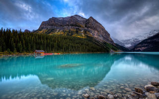 Картинка lake louise, mountain, forest