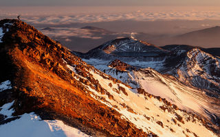 Картинка mount ngauruhoe, sunset, snow, mountain, cloud