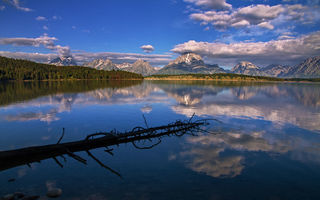 Картинка grand teton, mountain, forest, lake, sky, wyoming