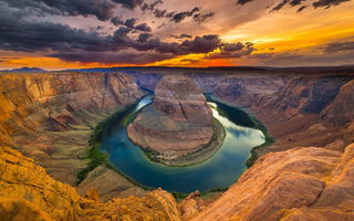 Обои Horse shoe bend, каньон, colorado river, red dessert, природа, река, arizona