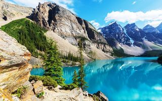 Картинка Moraine, лес, landscape, lake, Canada, озеро, Banff National park