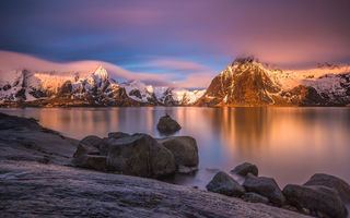 Картинка lofoten, island, mountain, sunset, norway