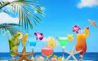 Обои tropical, море, paradise, пляж, fruit, beach, sea, fresh, фрукты, коктейль, summer, cocktail, drink