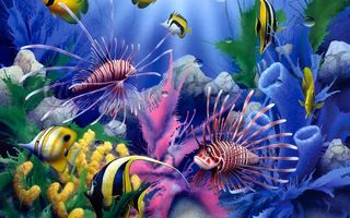 Картинка Lions of the Sea, fish, corals, painting, underwater world, David Miller, colorful