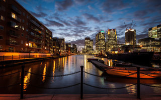 Обои закат, london, sunset, лондон, england, англия, twilight, canary wharf