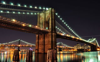Обои USA, город, огни, Brooklyn Bridge, New York City, Нью-Йорк, мост, Brooklyn, East River, река, ночь, Бруклинский, Manhattan Bridge, Ист-Ривер, Manhattan, NYC, Манхэттенский