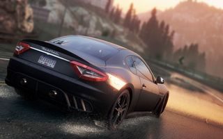 Картинка need for speed most wanted 2, брызги, дорога, Maserati GranTurismoгонка