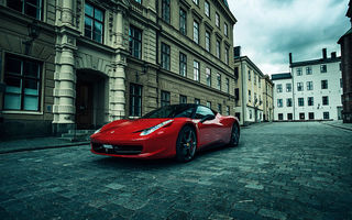 Обои Ferrari, Red, City, carriage-way, Street, Performance, Supercar, Italia, 458