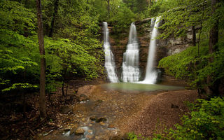 Обои Арканзас, водопад, Buffalo National River Park, Triple Falls, лес, скала, Arkansas