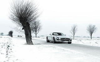 Картинка winter, 6.3, mercedes-benz, amg, sls