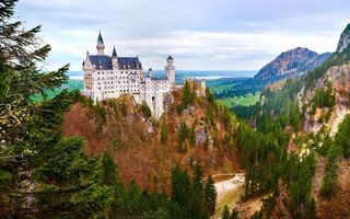 Обои пейзаж, germany, замок нойшванштайн, бавария, осень, замок, скала, лес, neuschwanstein castle, bavaria, германия