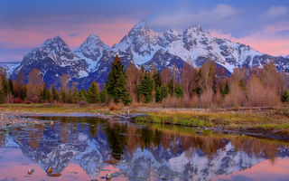 Картинка grand teton national park, wy, crystal reflections of grand tetons - schwabacher