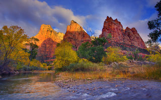 Картинка utah, zion national park, first light on the peaks - three patriarches, virgin river