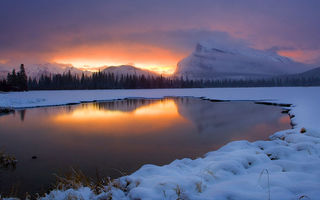 Обои закат, sunrise vermilion lakes, пейзаж, banff national park