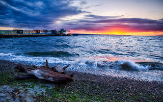 Картинка закат, sunset, washington, edmonds, beautiful beach
