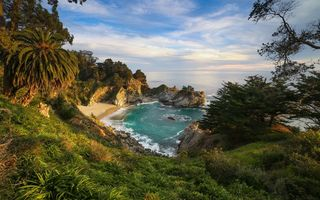 Картинка McWay Falls, Калифорния, Big Sur, Julia Pfeiffer Burns State Park, закат, McWay Cove Beach, море, Биг-Сюр, берег, водопад, California, Парк Джулии Пфайфер Берн