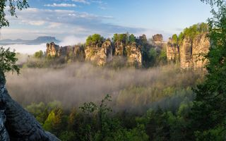 Картинка Bastei, Saxon Switzerland National Park, panorama