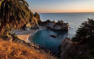 Обои McWay Falls, Julia Pfeiffer Burns State Park, закат, California s Big Sur region
