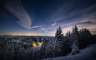 Картинка Stars Above, Germany, Baden-Wurttemberg, Schwarzwald, Mummelsee, winter
