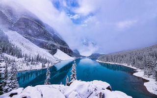 Обои Moraine Lake, деревья, Canada, зима, Banff National Park, Alberta, пейзаж, горы