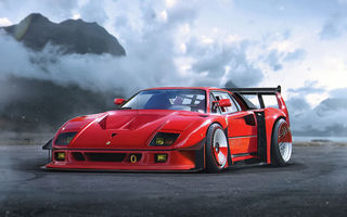 Картинка Ferrari, F40, by Khyzyl Saleem, Car, Concept, Red