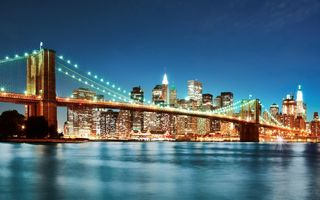 Обои бруклинский мост, new york, город, нью-йорк, brooklyn bridge, мост, ночь, огни