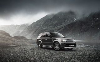 Обои romania, black, auto, landscape, range rover, land rover, lights