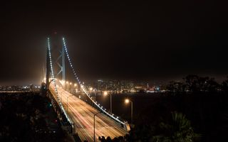 Обои San Francisco, light, night, California, залив, dark, bridge, осень, lights, San, sky, Сан-Франциско, autumn, Francisco, Калифорния, Bay bridge, США, ночь, USA, мост, bay, небо, огни, темный, fall