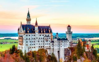 Картинка Germany, mountain, Neuschwanstein Castle, Bavaria, autumn, castle, Alps, Нойшванштайн, splendor, замок